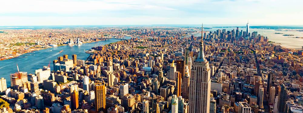 New York City skyline facing south